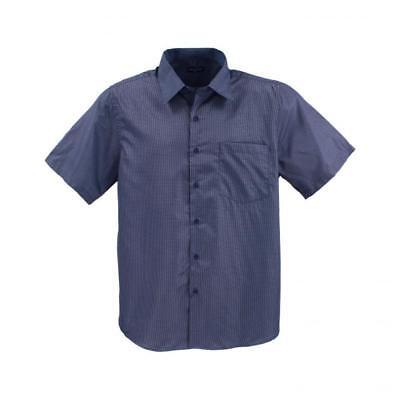 Lavecchia Uomo Camicia A Maniche Corte Camicia Blu Marina A Quadri Tg. 3xl 4xl 6xl 7xl #18-02-