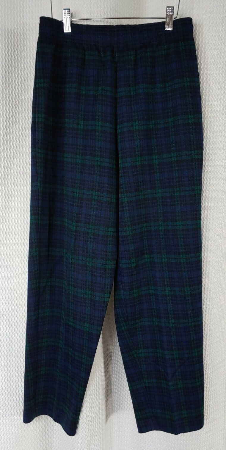Vintage Navy & Green Plaid Knit Pants - image 1
