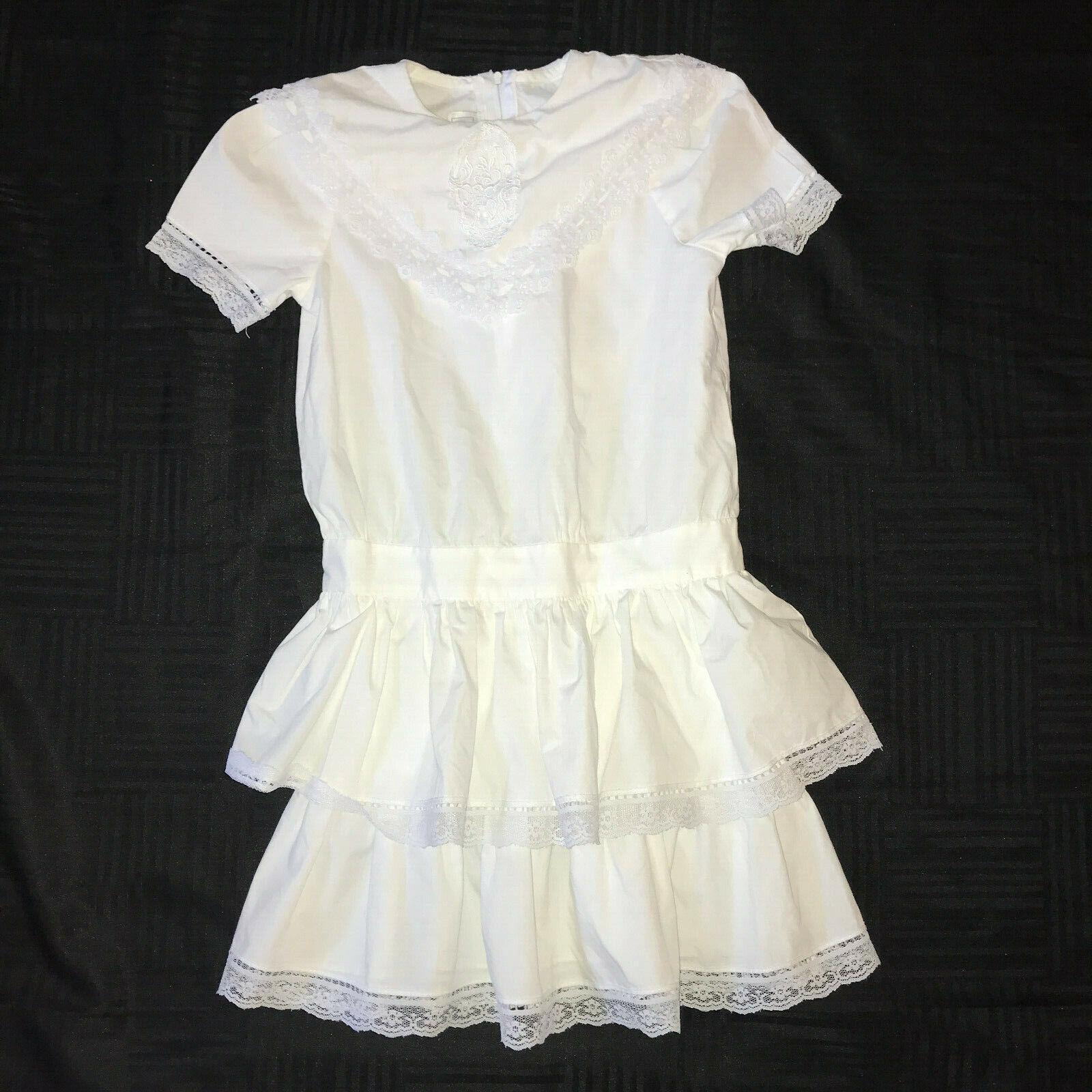 Victorian dress COSTUME girls size 7  white cotto… - image 1