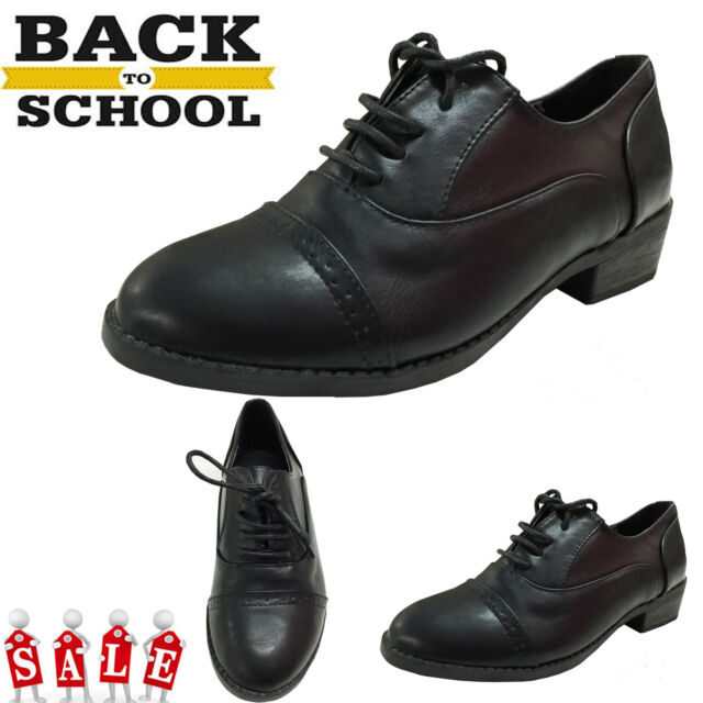 LADIES WOMENS SMART PARTY FLAT BROGUE PUMPS GIRLS SCHOOL OFFICE WORK  SHOES SIZE