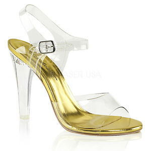 Clear Pageant Bikini Fitness Competition Ankle Strap Heels Shoes size 6 7 8 9 10
