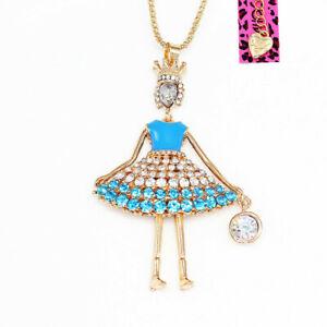 Betsey-Johnson-Crystal-Enamel-Crown-Girl-Pendant-Sweater-Chain-Women-039-s-Necklace