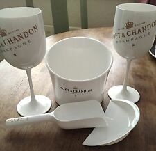 ICE IMPERIAL MOET CHANDON ICE CUBE HOLDER & SCOOP + 2 ICE IMPERIAL FLUTES NEW
