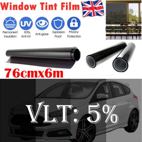 CAR WINDOW TINT FILM TINTING SUPER DARK BLACK LIMO 5/% 76cm x 6M