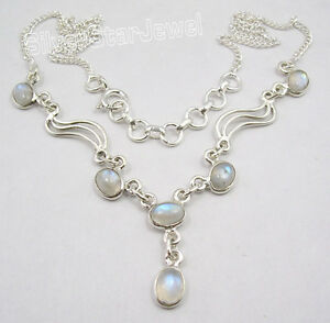 925-Sterling-Silver-Natural-RAINBOW-MOONSTONE-GORGEOUS-Necklace-17-25-034-NEW