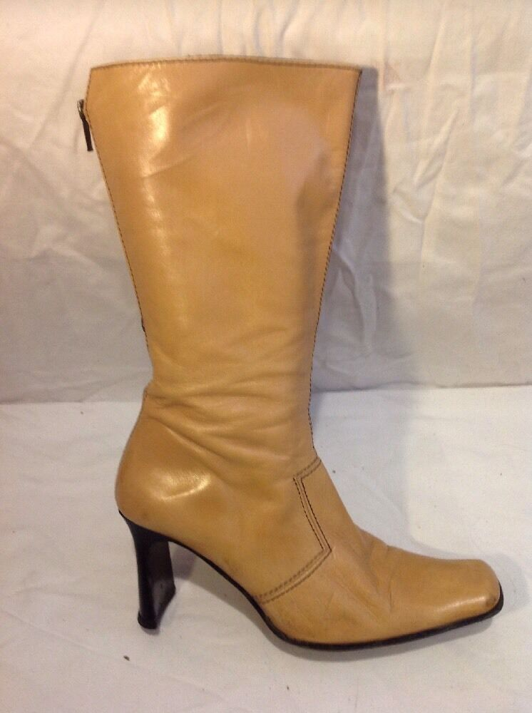 Next Beige Mid Calf Leather Boots Size 6