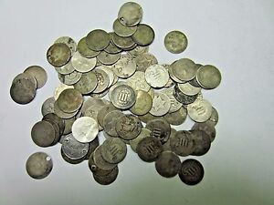 3-Random-SILVER-Three-Cent-Coin-3-Cent-Lot-3-Coins-Low-Grade