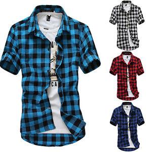 New-Men-039-s-Summer-Casual-Dress-Shirt-Mens-Plaid-Short-Sleeve-Shirts-Tops-Tee