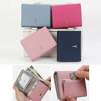 Women Genuine Leather Half Wallet Bill Card Holder Purse Coin Zipper Window Slot