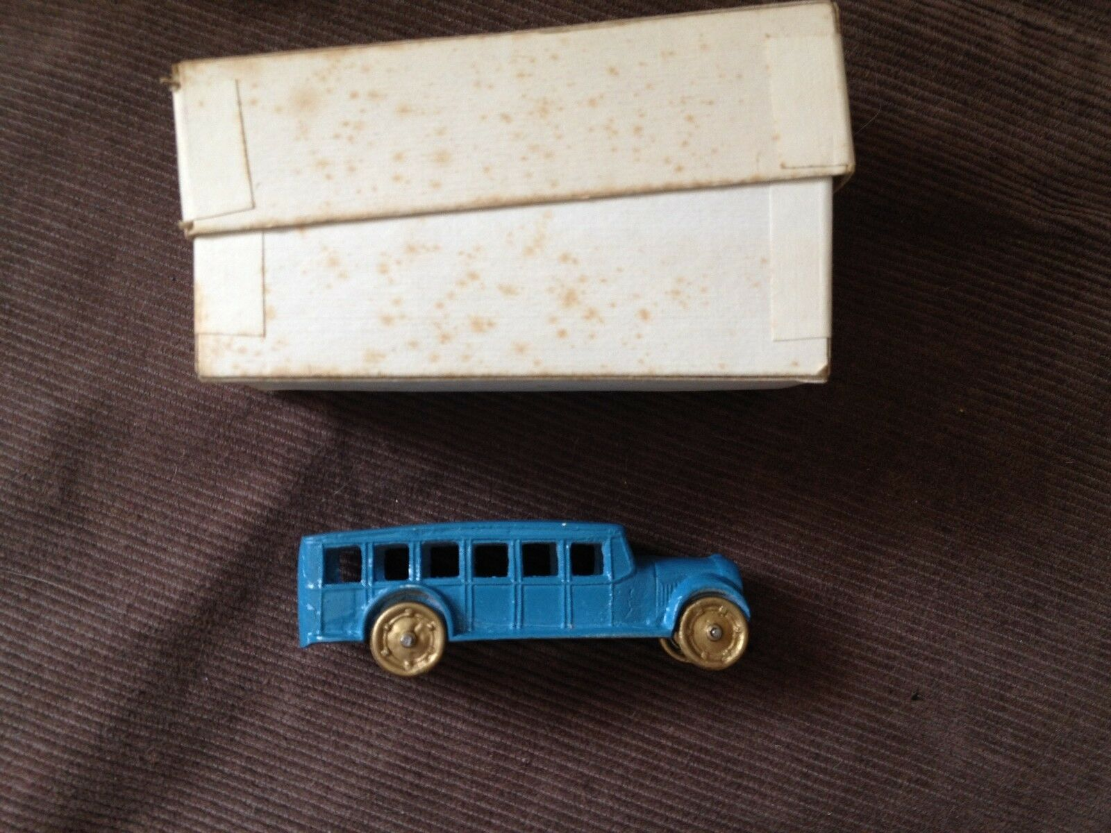 Antique vintage lead toy school bus in box