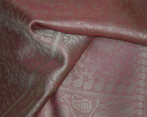 Stole from India Banaras Silk Red Woven Paisley Floral Design Shawl Wrap