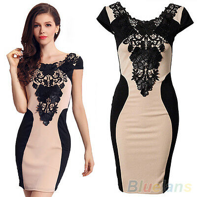 Posh Sexy Women Lace Short Sleeve Slim Bodycon Party Cocktail Evening Dress B8BU