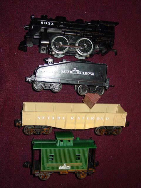 LIONEL SAFARI RAILROAD - Steam Engine, Coal Tender, Caboose, Gondola (EXCELLENT)