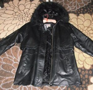 2862d3ece21 croft & barrow black leather hooded 3/4