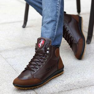 Bottines en cuir Hommes  Hiver Casual haut Sneaker lacets chaussures de travail
