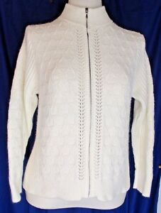 cacfc6afdc Charter Club WOMENS Full Zip Sweater Ivory SIze L Off-White Cotton ...