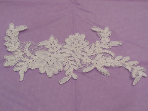 An ivory bridal cord floral lace applique ivory tulle lace motif Per piece