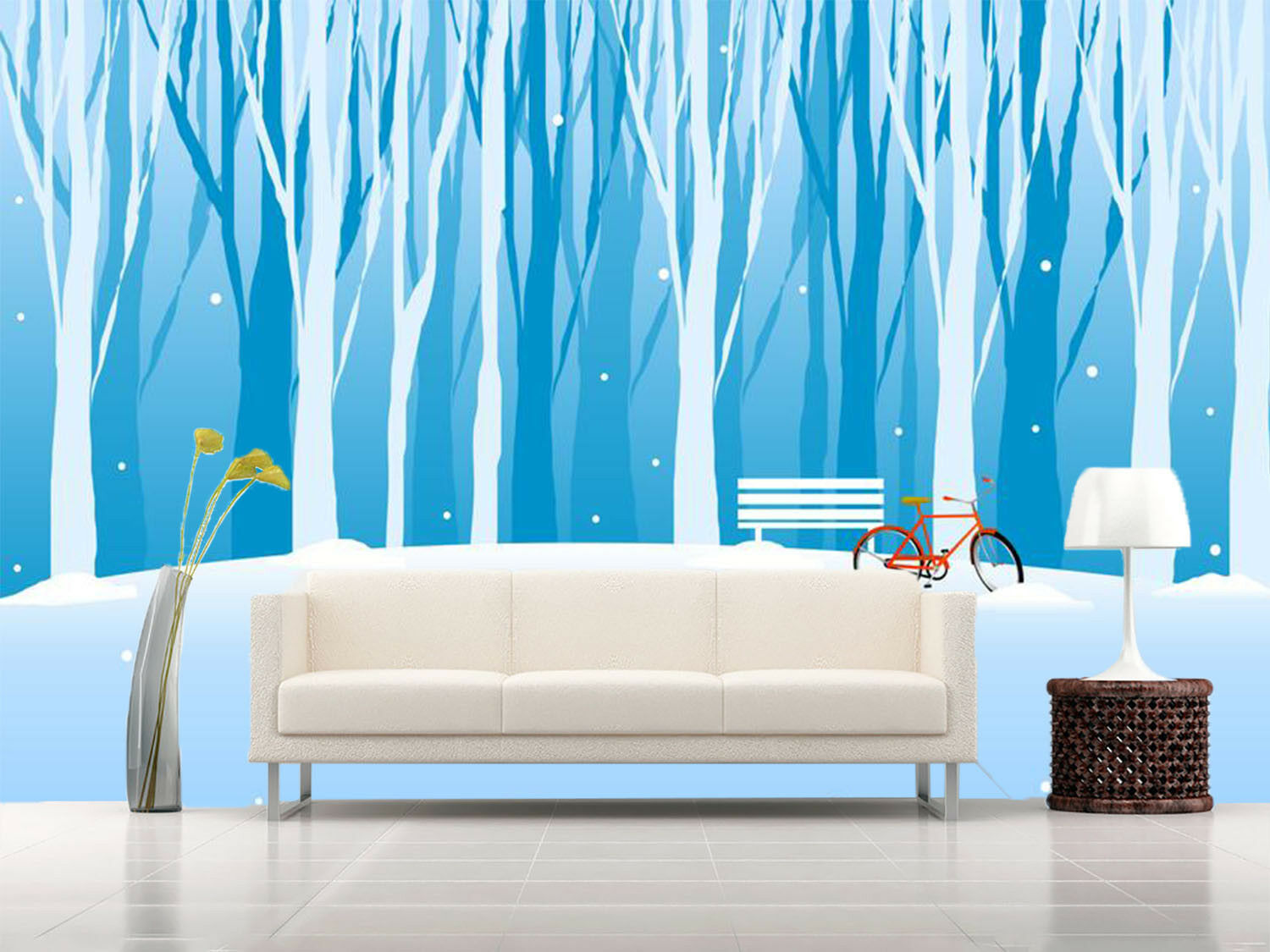 3D Cartoon Woods Snow 72 Wallpaper Mural Paper Wall Print Wallpaper Murals UK