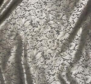 Silk JACQUARD Fabric Teal Scroll BAROQUE 1//3 yard remnant