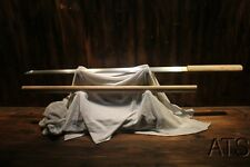 Japanese Hand Forged Folded Steel Chokuto Straight Shirasaya Bamboo Sword + Bag