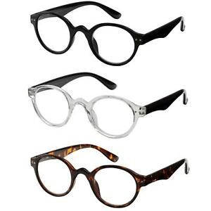 ae6bfe19df2 Image is loading 3-PACK-Vintage-Round-Reading-Glasses-Spring-Hinges-