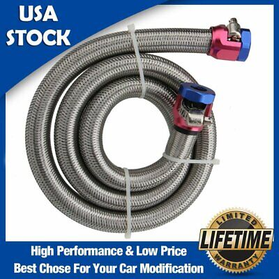 """Braided Stainless Steel Fuel Line Kit 3//8/"""" I.D x 8/"""" Red//Blue Worm Gear Clamps"""