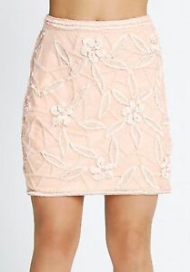 SAMANTHA-FAIERS-BLUSH-PINK-BEADED-AND-SEQUIN-SKIRT-SIZE-8