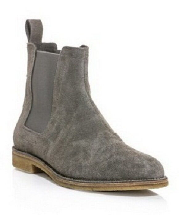 New Pure Handmade Custom Mens Grey Chelsea Suede Leather Boots in Crepe Sole