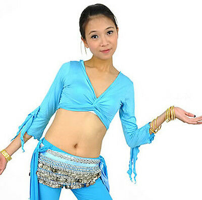 New Sexy Belly Dance Costume Flared Sleeve Blouse Top Bra 9 Colours
