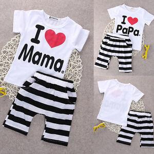 673e810d8d5de Details about 2PCS Newborn Infant Twins Baby Boy Girls T-shirt+Pants Outfit  Pajamas Suit 0-24M