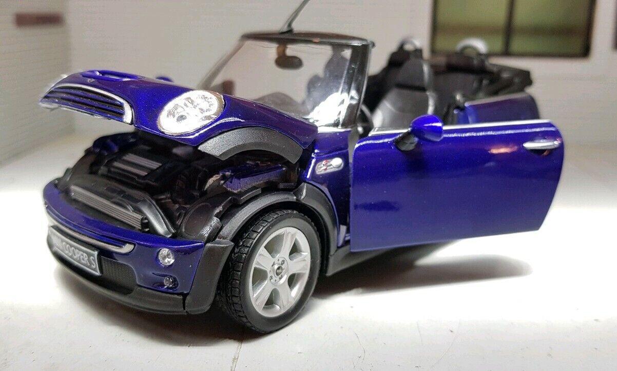 1 24 Escala Welly modelllllerlero Fundido MINI COOPER S Cabrio blå Congrönible Coche