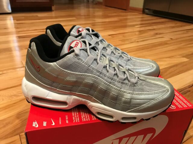 2b82e61e7 Nike Air Max 95 Premium QS Metallic Silver Bullet Red 918359 001 Men s Size  10.5