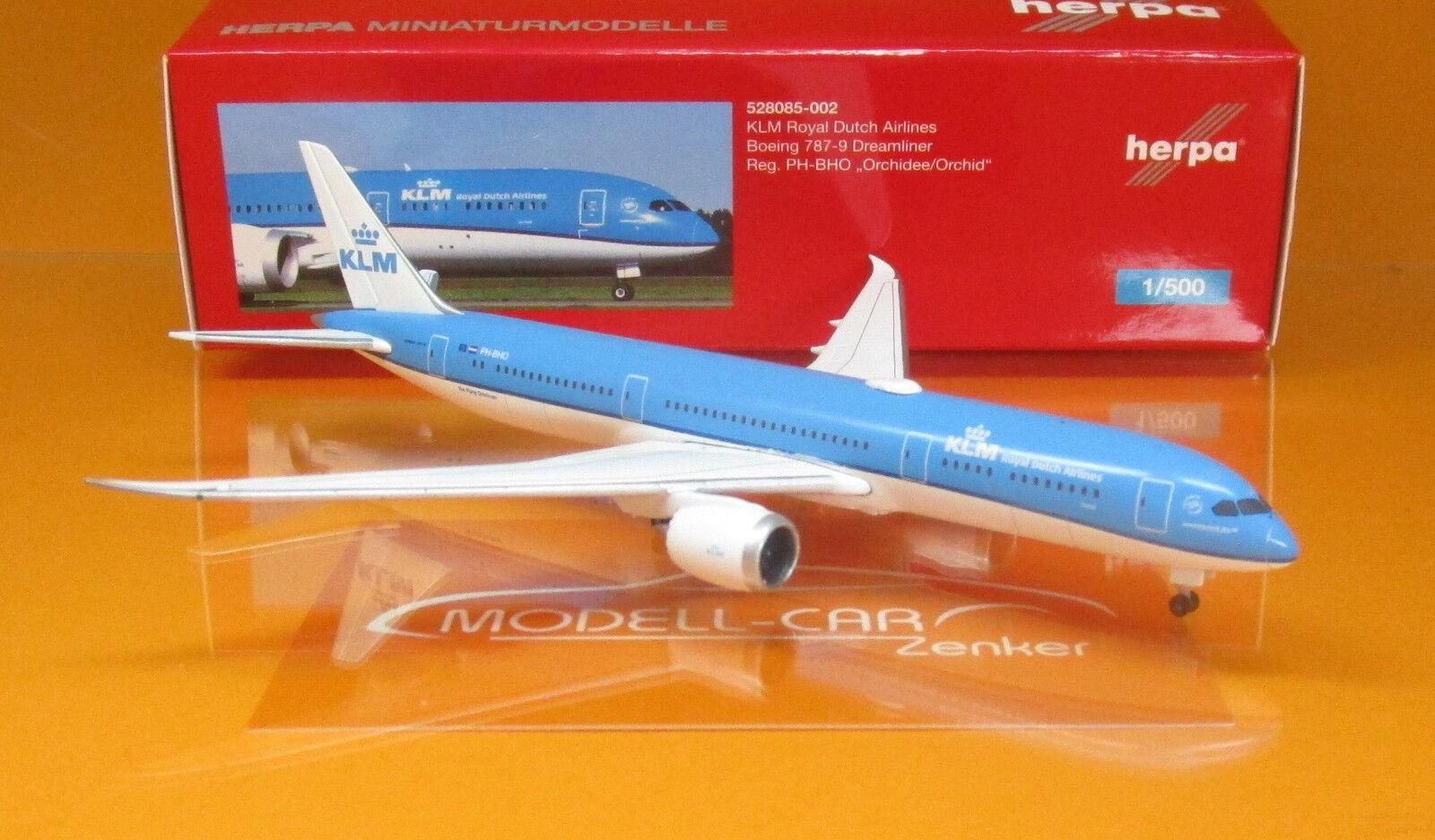 Herpa Wings 528085-002 Boeing 787-9 KLM PH-BHO Scale 1 500  | Sonderangebot