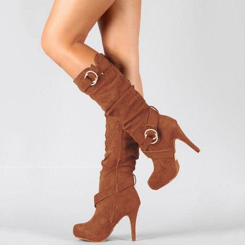Damen Stiletto Stiefeletten Stiefel Boots Warm High Heels Pumps Plateau Schuhe