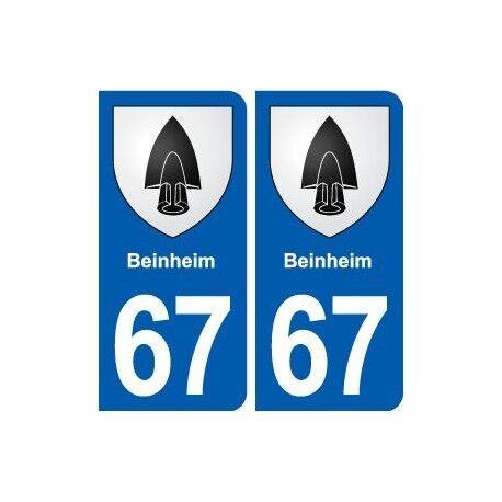 67 Beinheim blason autocollant plaque stickers ville arrondis