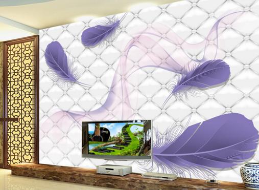 3D lila Feathers 732 Wall Paper Murals Wall Print Wall Wallpaper Mural AU Kyra