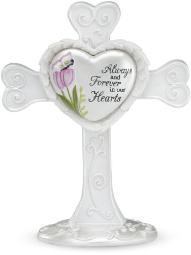 Always And Forever in Our Hearts Cross Sympathy Memorial White Tulip Butterfly