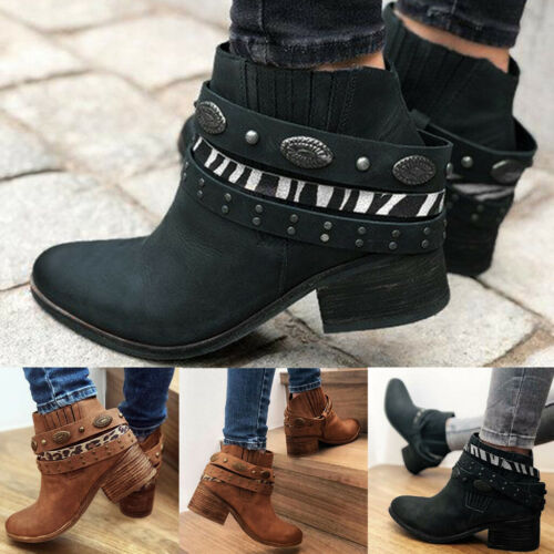 Women Ladies Mid Block Heel Ankle Boots  Belt Slip On Western Cowboy Boots Shoes