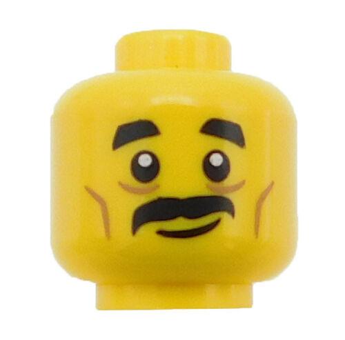 Lego New Yellow Minifigure Head Black Short Eyebrows Cheeklines Piece