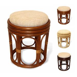 Pier Handmade Design Rattan Wicker Round Ottoman Stool