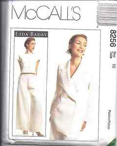 8256-UNCUT-McCalls-SEWING-Pattern-Lida-Baday-Misses-Lined-Jacket-Top-Pants-OOP