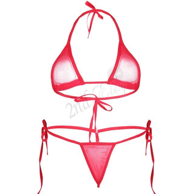 Women Lingerie Micro Thongs G string Bra Bottom Top Bikini Beach Swimwear Suit