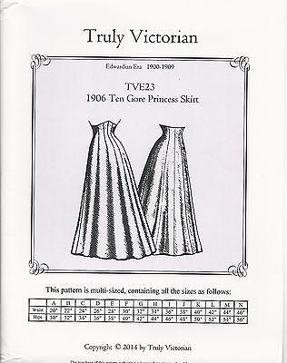 Schnittmuster Truly Victorian TVE 23: 1906 Ten Gore Princess Skirt ...