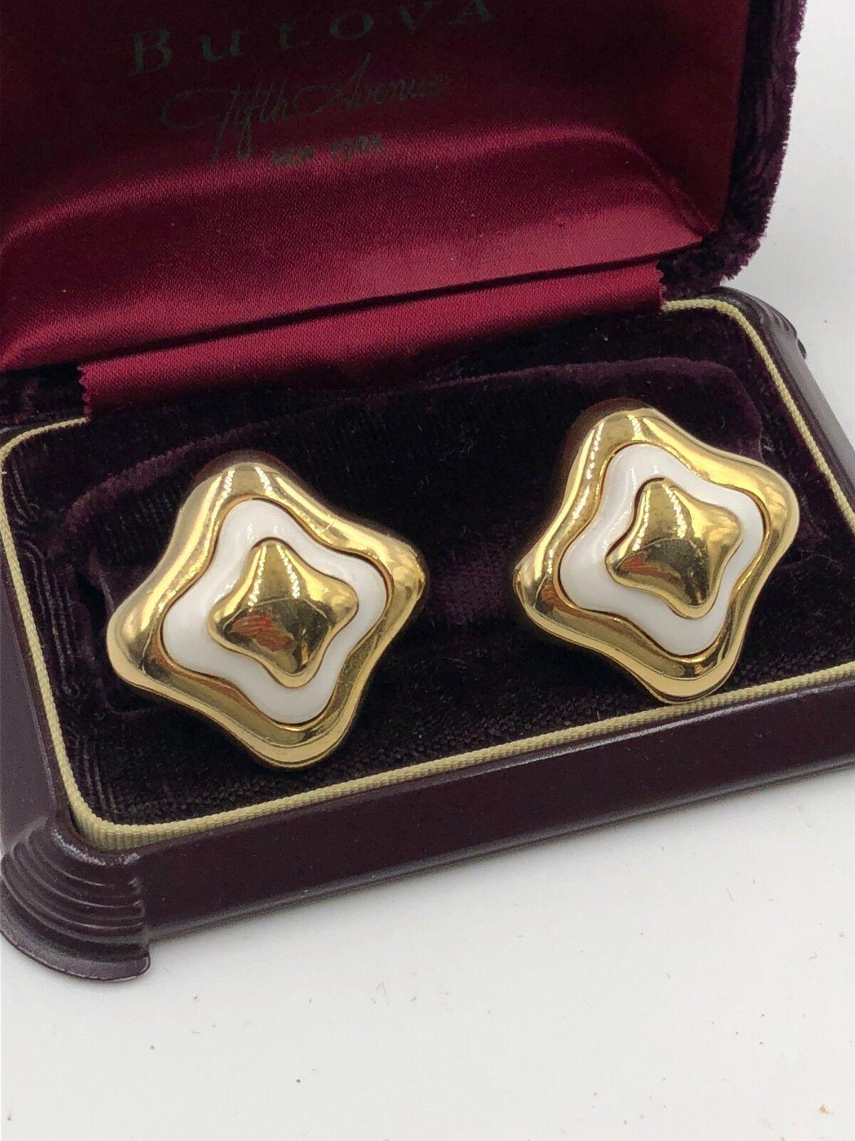 VINTAGE LANVIN SIGNED GOLD ENAMEL EARRINGS CLP FR… - image 2