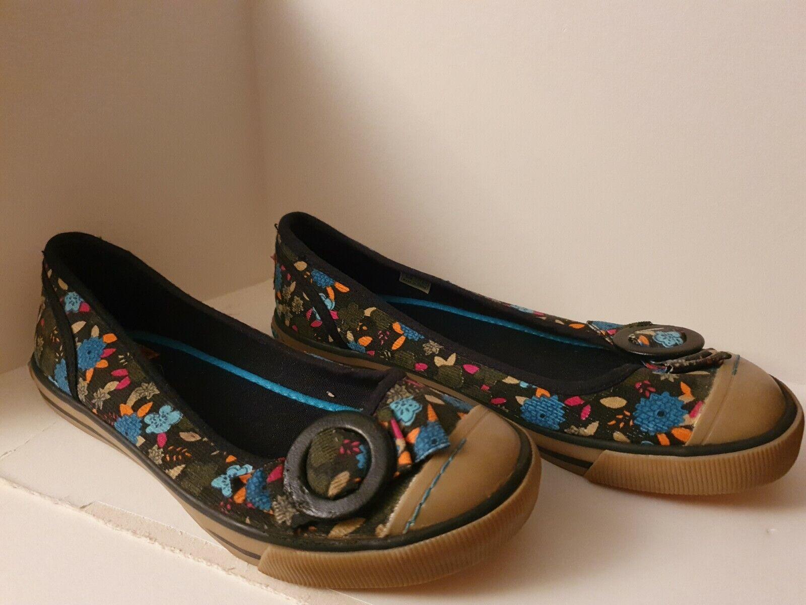 ● Rocketdog ● multi couleur sur gris ~ fleurs ~ À Enfiler Plates ~ Toile Chaussures ~ Taille UK 5/EU 38