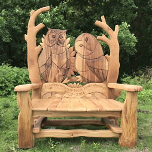Details About Wise Owl Garden Bench Solid Oak Wooden Outdoor Furniture Handmade In The Uk
