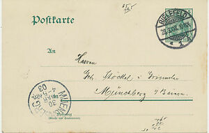 """DT. Reich 1903"""" Bielefeld/1"""" K2 5 PF Germania Kab. - GA-postcard N. """"muenchberg"""""""