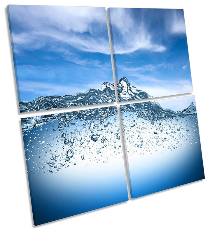 Bathroom Blau Water CANVAS WALL ART MULTI Square Print