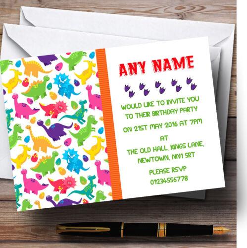 Dinosaures Colorées Empreintes Personnalisé Enfants invitations anniversaire