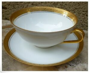 Tasse-The-cafe-Porcelaine-Limoges-double-dorure-Or-polie-a-agate-sgn-Rene-Claire